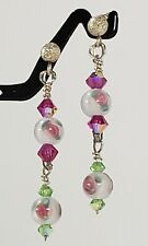 Double Dangle Pink Rose Post Earring Drops 925 Silver Swarovski Crystal Handmade