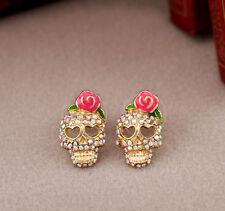 Colorful Bling Sparkling Rose Sugar Skull Skeleton Post Stud Earrings A9012