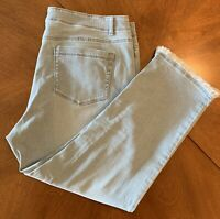 J. Jill Authentic Fit Cropped Jeans, Size 14, Surf Wash (Light Blue)