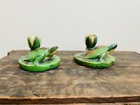 Two Stunning Rare Weller Pottery Coppertone Turtle Vases