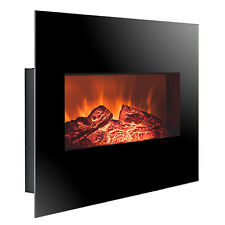 "26"" Wall Mount Black Electric Fireplace Firebox Red Orange 3D Flame Logs Heater"