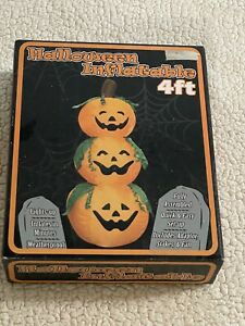 New 4 Foot Stack of 3 Pumpkins Halloween Fall Airblown Inflatable LED Lighted