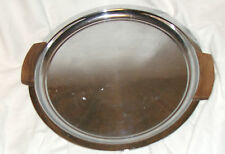 Vintage Cake Tray / Serving Plate. RAINLEIGH stainless steel and wood plate