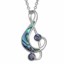Treble Clef Paua Necklace - Music Gift - Musical Jewellery - Gift for Musician