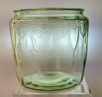"Anchor Hocking Cameo Ballerina Green Cookie Jar - No Lid - 5 1/2"" High"