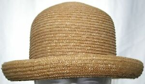 Vintage Street Smart by Betmar Round Crown Straw Cap Bucket Hat Womens Size S-M