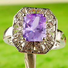Elegant Bridal Emerald Cut Tourmaline & White Topaz Gemstone Silver Ring Size 10