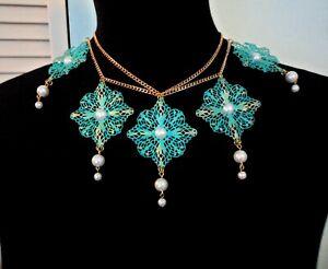 Massive Runway Necklace Filigree Faux Pearl Aqua Victorian Statement Collar