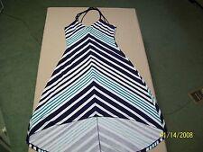 POOF Jrs Blue/Green Striped Stretch High-Low Spaghetti Strap Dress L/Large 12-14