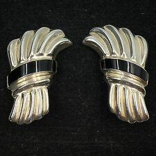 Vintage Mexican Sterling Silver 925 Black Onyx Inlay Clip-On Earrings