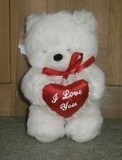 White Teddy Bear Soft Plush Cuddly Toy I Love You