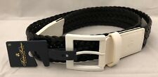 """Brooks Brothers Black & White Leather Braided Belt MEN'S SMALL 1 3/4"""" Wide $198"""