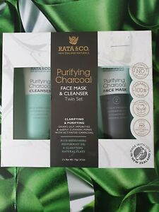 RATA&CO PURIFYING CHARCOAL TWIN SET FACE MASK&CLEANSER 75G EACH