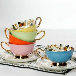 Coffee Cups Porcelain Butterfly Flower Teacup & Saucer Set Tea Time Ceramic Cup