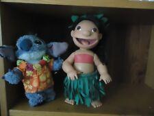 "Disney Cute Plastic 12"" Lilo & 9"" Plush Stitch Blue Dog with Disney Tush Tag"
