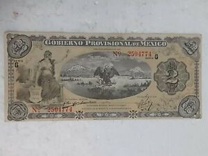 1914 MEXICAN REVOLUTION/PROVISIONAL GOVERNMENT 2 PESOS BANKNOTE
