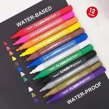 12 Colors Acrylic Paint Markers Pens Set Fine Tip Art Permanent Paints Pen