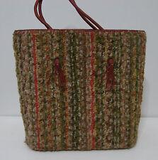 Vintage Wood Shag Carpet Weaved Peg Bottom Dual Handle Tassel Handbag