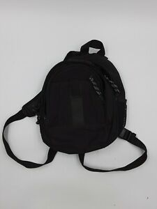 """Black polyester Small 9""""x11"""" mini backpack multi compartment pocket short straps"""