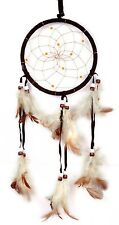 Dark Coffee Dream Catcher Brown Wall Hanging Decoration Bead Ornament Feathers