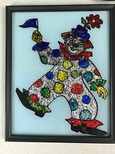 "vintage Clown Foil Art 8"" x 10"" Mid Century Modern Framed"