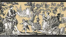Colonial French Black Tan Toile Country Scene Wallpaper Border ROSEDALE WPB356-0