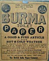 INDIA VINTAGE - BURMA TOILET PAPER ADVERTISEMENT 1914 BRITISH INDIA PAPER COM.