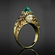 Vintage 18K Yellow Gold Emerald Woman Men Ring Fashion Party Jewelry Size 10