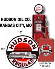 "(HUDSON-1) 18"" 1925-45 HUDSON SEMI TRUCK TANKER GASOLINE DECAL OIL CAN / GASPUMP"