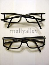 Shiny BLACK Double Temple Plastic Reading Glasses +1.00 Brand New Readers