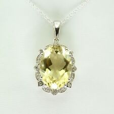 Yellow Quartz and White Topaz Necklace 11.97 ctw 925 Sterling Silver New ss