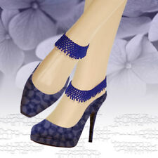 NEW WOMENS BLUE SILVER BEADED STRETCHABLE BAREFOOT FASHION ANKLET HANDMADE