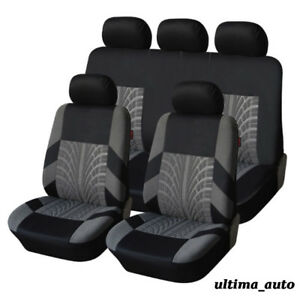 FULL SET GREY FABRIC SEAT COVERS FOR TOYOTA YARIS AVENSIS RAV4 AURIS COROLLA