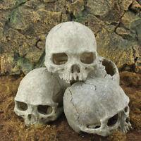 Aquarium Resin Skull Head Cave Ornament Fish Tank Underwater Decoration Decor QP