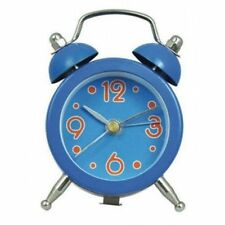 MINI DOUBLE BELL 5CM DIAMETER ALARM CLOCK IN BRIGHT BLUE (OUR REF ZC)