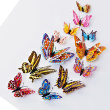 12PCs Glowing 3D Butterfly Sticker Home Decoration PVC Art Wall Decal Mural DIY