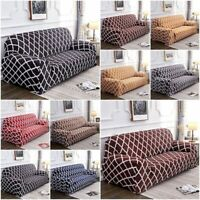 Stretch Sofa Slipcover Solid Color Lattice Couch Cover Protector With Pillowcase