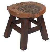 Pinecone Design Hand Carved Acacia Hardwood Decorative Short Stool