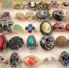 Wholesale 50pcs Mix Lots Nature stone Multicolor Fashion Rings Jewellery /w case