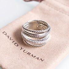 David Yurman Sterling Silver 925 Wide Crossover Diamond Ring