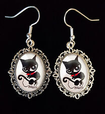 Doom Kitty Ruby Gloom Gato Pendientes De Plata Antigua cráneo Goth Steampunk