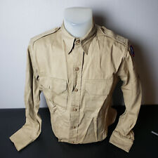 WWII US Army Khaki Uniform Drill Dress Shirt With Patches 3rd Army Original