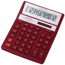 Citizen SDC888XRD Solar & Double Memory Battery Power 12 Digit Calculator - Red