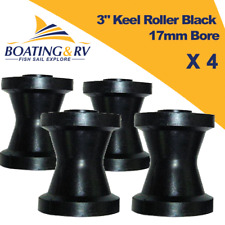 "3"" Soft Rubber Black Keel Rollers 17mm Bore 