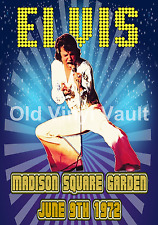 ELVIS PRESLEY Concert Poster Madison Square Garden 1972 Repro