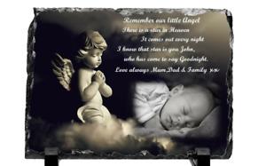 Personalised Photo Baby Memorial Rock Slate