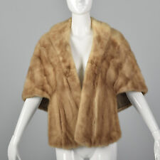 1950s Beige Mink Stole Front Pockets Fur Wrap Formal Evening Wear Outerwear 50s