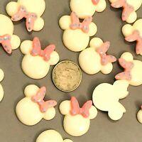4 pc Planar Resin Hair Bow Center WHOLESALE Minnie 47x36mm Mouse Ears