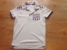 Boys short sleeved Beige And Plum polo shirt aged 7-8 years Ht 128 Cm F&F