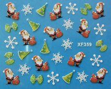 Accessoire ongles : nail art- Stickers noël : père noël , flocons , chapeaux